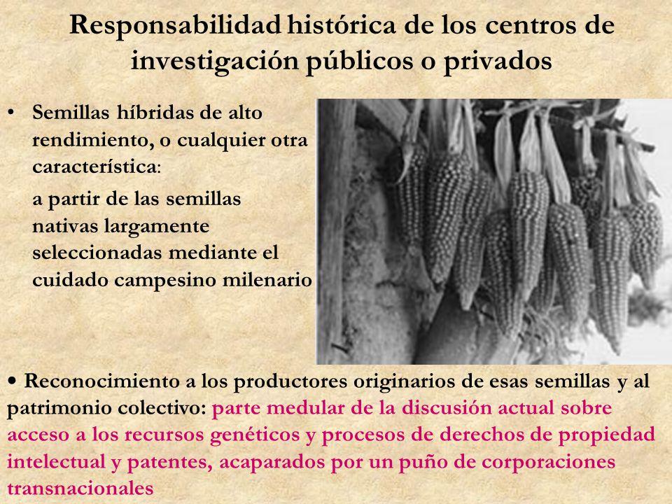 Responsabilidad histórica de los centros de investigación públicos o privados