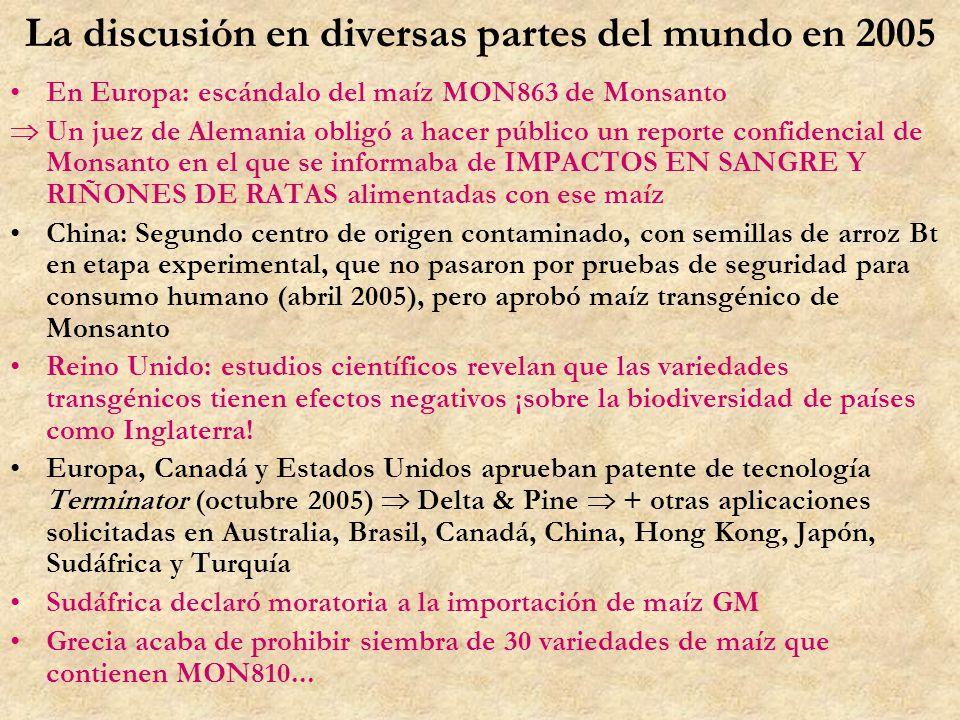 La discusión en diversas partes del mundo en 2005