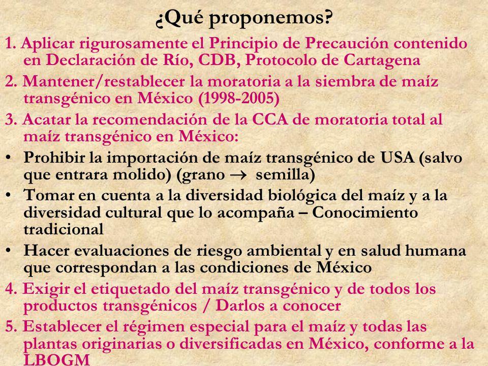¿Qué proponemos 1. Aplicar rigurosamente el Principio de Precaución contenido en Declaración de Río, CDB, Protocolo de Cartagena.