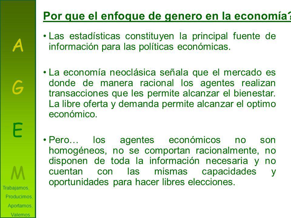 A G E M Por que el enfoque de genero en la economía