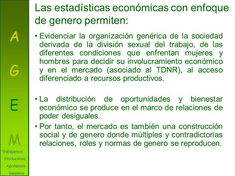 A G E M Las estadísticas económicas con enfoque de genero permiten: