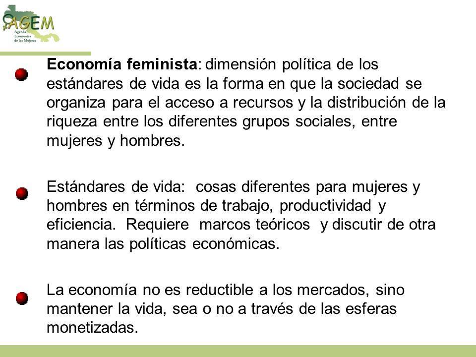 Economía feminista: dimensión política de los estándares de vida es la forma en que la sociedad se organiza para el acceso a recursos y la distribución de la riqueza entre los diferentes grupos sociales, entre mujeres y hombres.