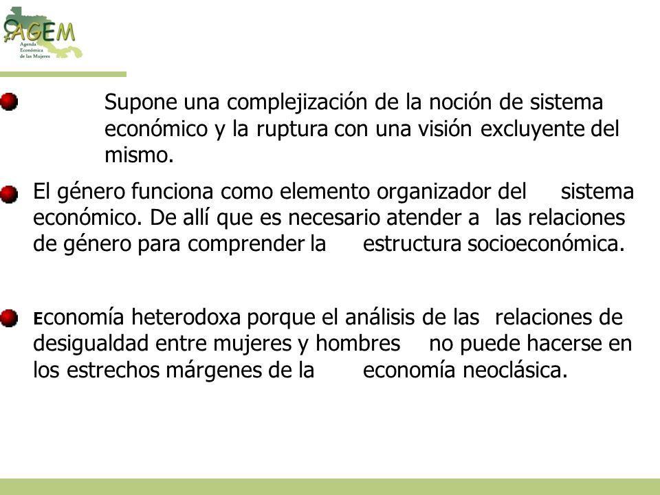 Supone una complejización de la noción de sistema económico y la ruptura con una visión excluyente del mismo.