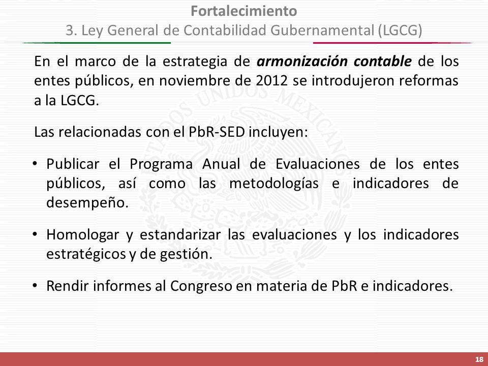 Fortalecimiento 3. Ley General de Contabilidad Gubernamental (LGCG)