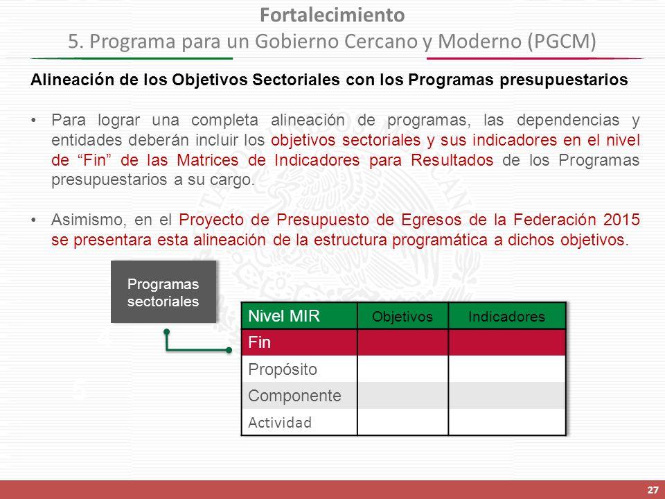 Fortalecimiento 5. Programa para un Gobierno Cercano y Moderno (PGCM)