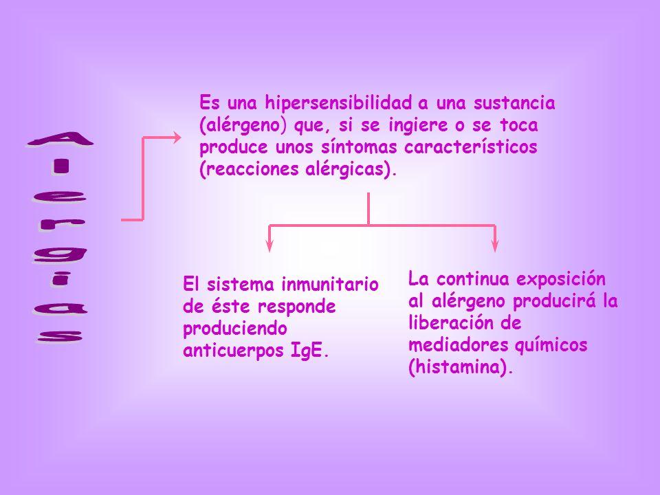 Es una hipersensibilidad a una sustancia (alérgeno) que, si se ingiere o se toca produce unos síntomas característicos (reacciones alérgicas).