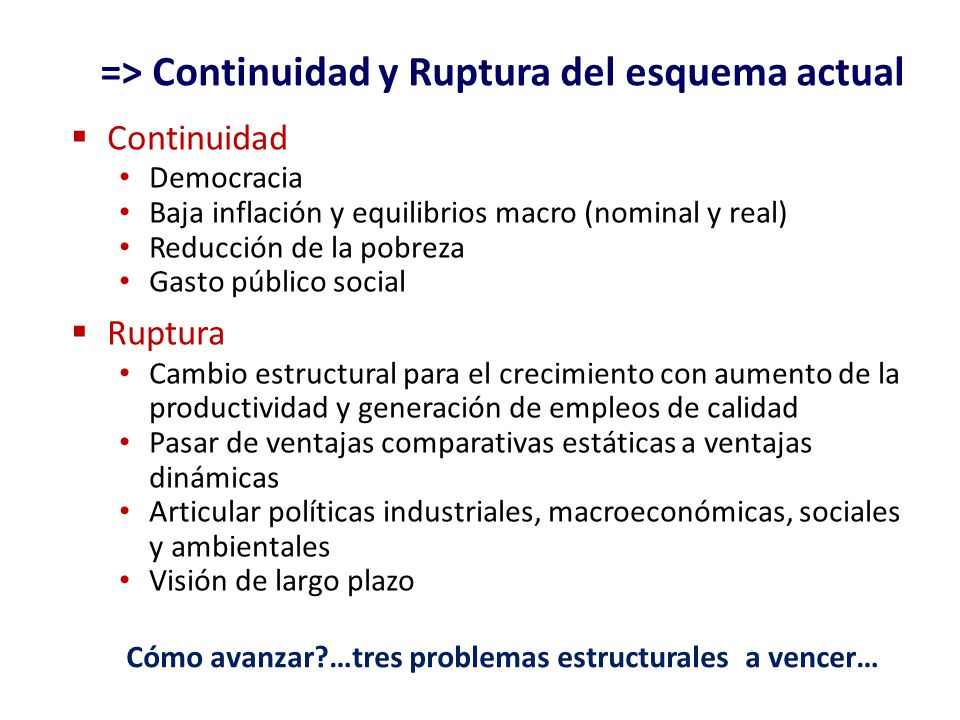 => Continuidad y Ruptura del esquema actual