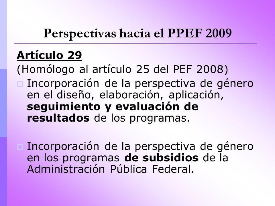 Perspectivas hacia el PPEF 2009