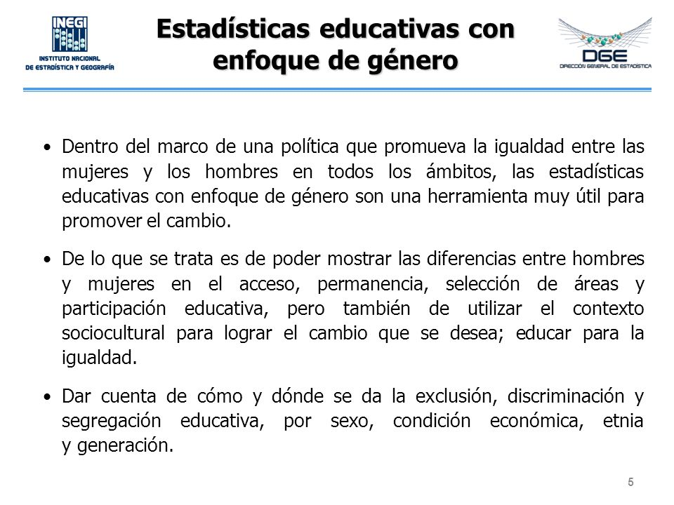 Estadísticas educativas con enfoque de género