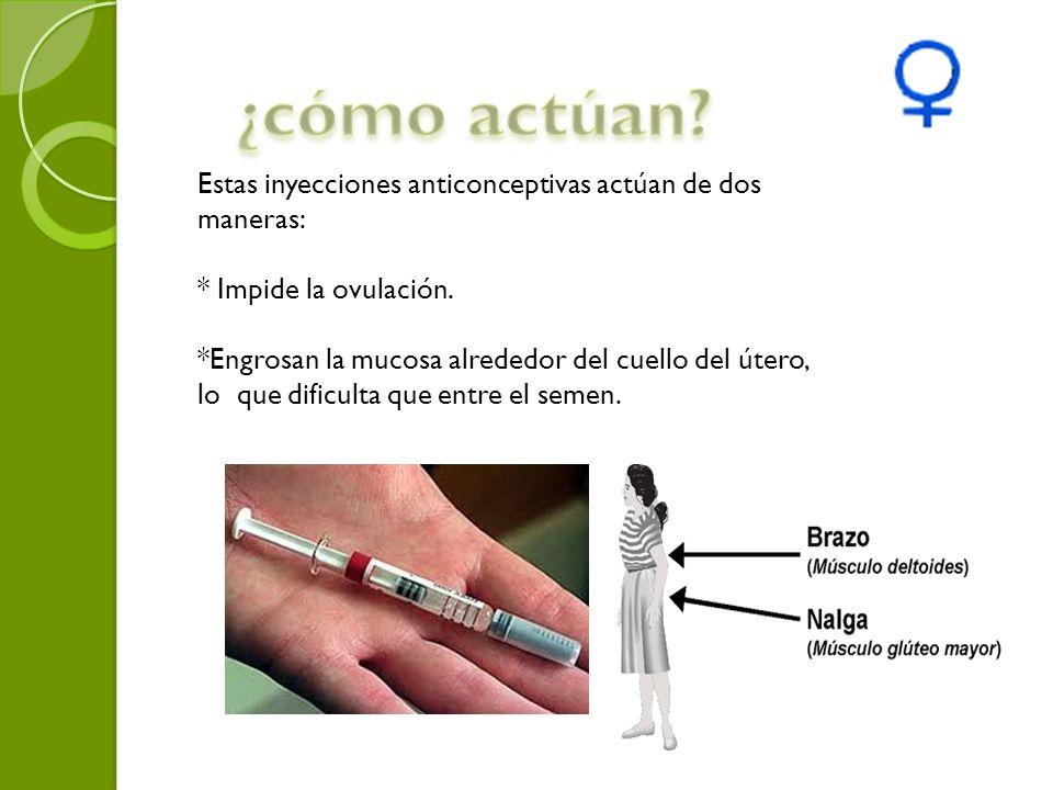 ¿cómo actúan Estas inyecciones anticonceptivas actúan de dos maneras: