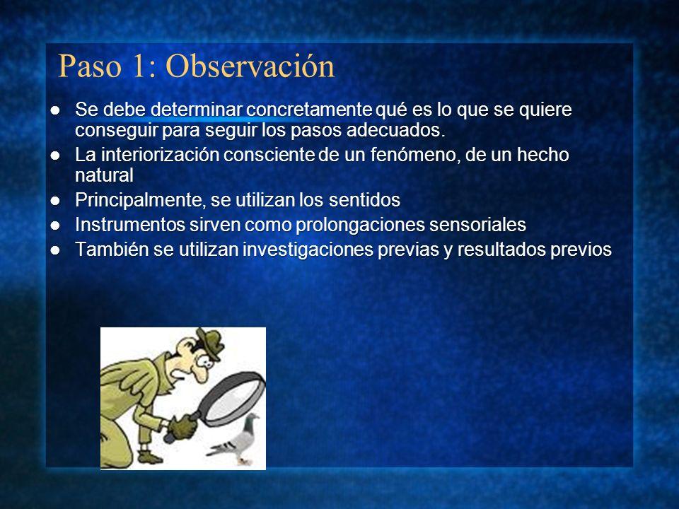 Paso 1: ObservaciónSe debe determinar concretamente qué es lo que se quiere conseguir para seguir los pasos adecuados.