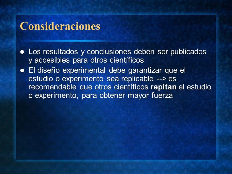 ConsideracionesLos resultados y conclusiones deben ser publicados y accesibles para otros científicos.