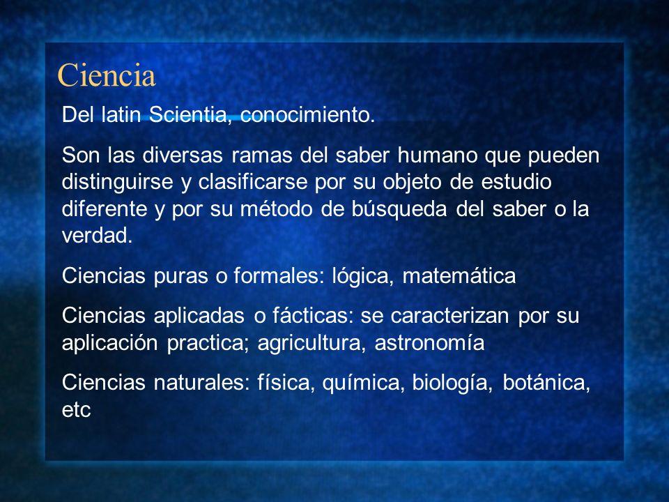 Ciencia Del latin Scientia, conocimiento.