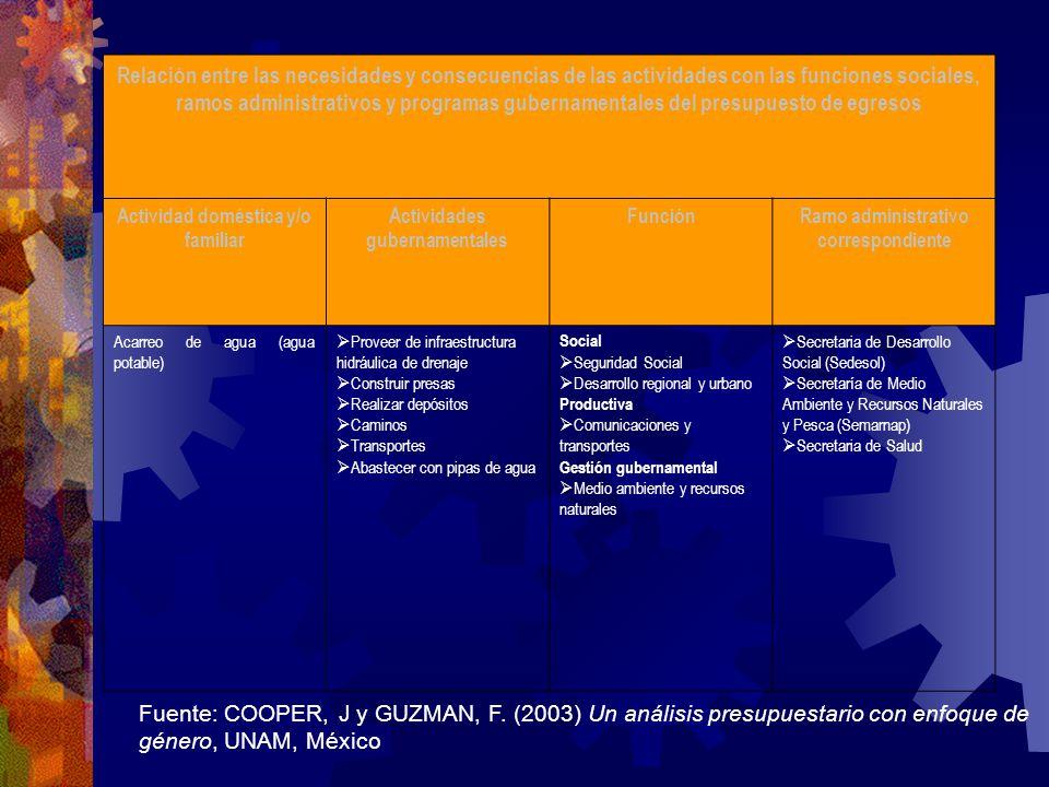 Relación entre las necesidades y consecuencias de las actividades con las funciones sociales, ramos administrativos y programas gubernamentales del presupuesto de egresos