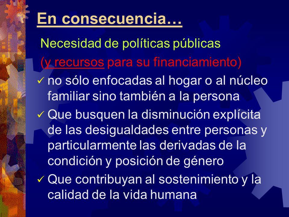 En consecuencia… Necesidad de políticas públicas