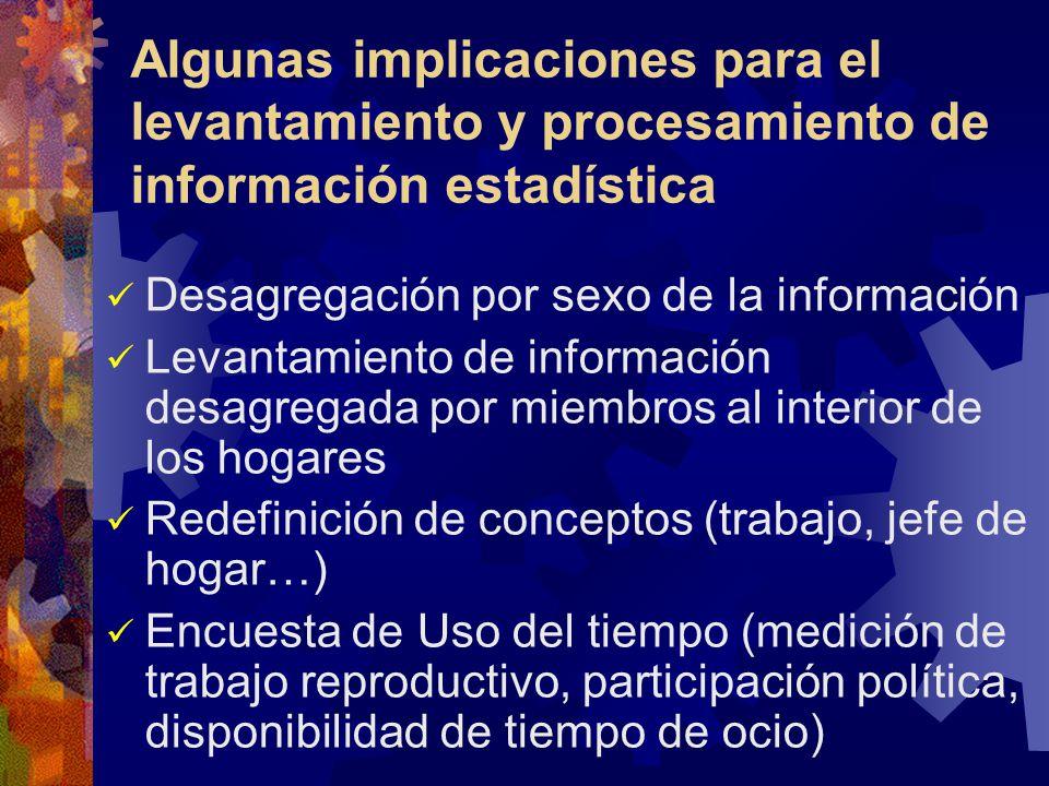 Algunas implicaciones para el levantamiento y procesamiento de información estadística