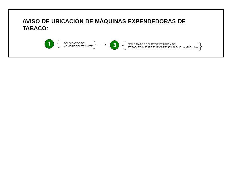 AVISO DE UBICACIÓN DE MÁQUINAS EXPENDEDORAS DE TABACO: