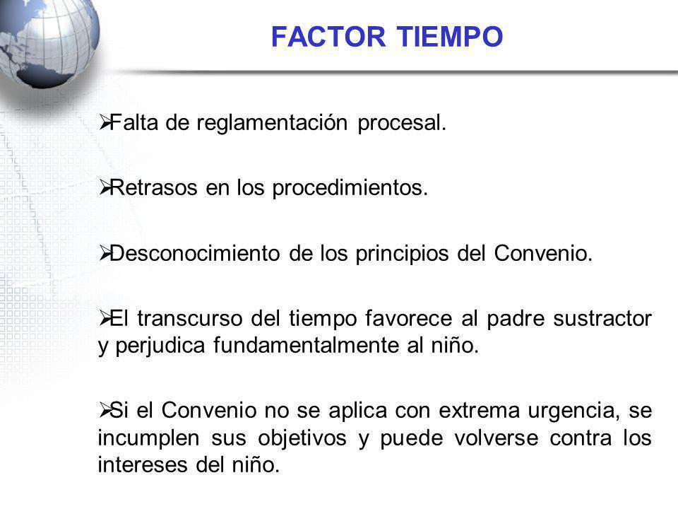 FACTOR TIEMPO Falta de reglamentación procesal.