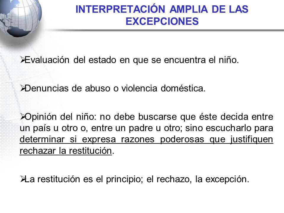 INTERPRETACIÓN AMPLIA DE LAS EXCEPCIONES