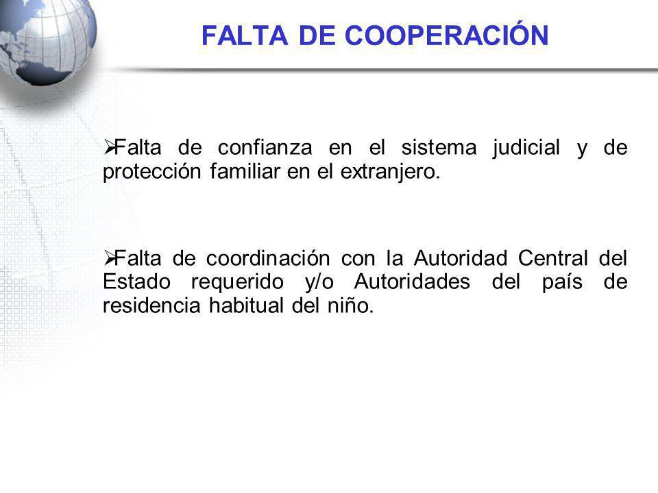FALTA DE COOPERACIÓN Falta de confianza en el sistema judicial y de protección familiar en el extranjero.