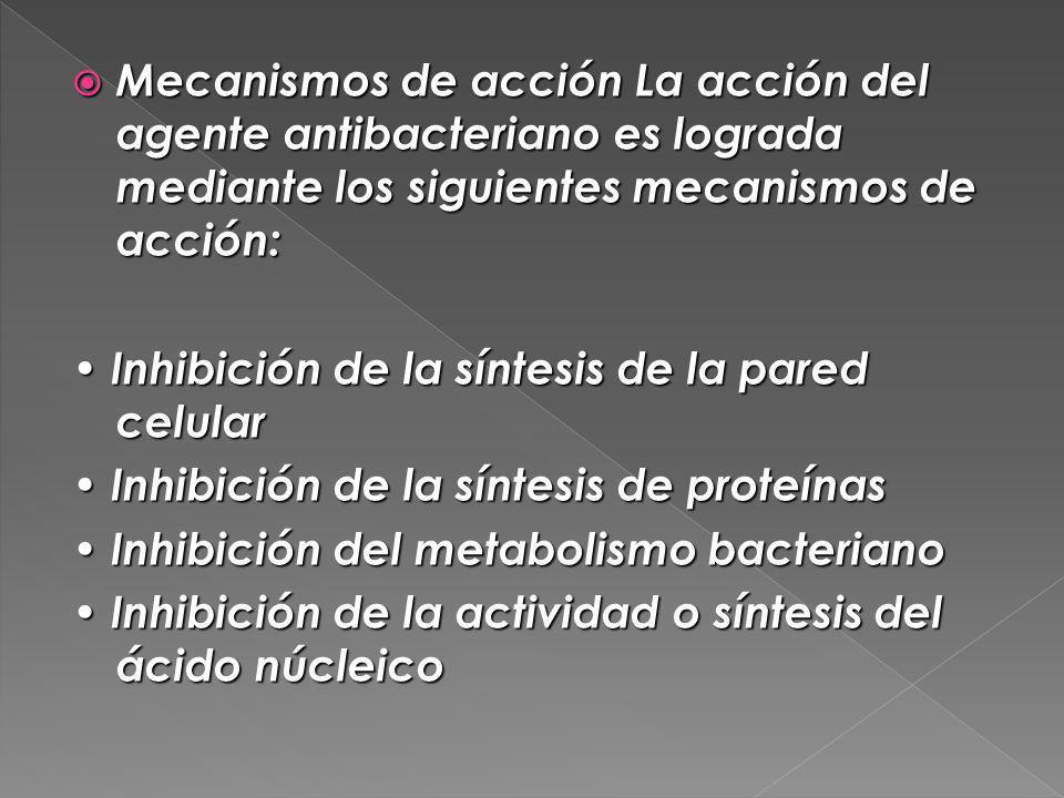 Mecanismos de acción La acción del agente antibacteriano es lograda mediante los siguientes mecanismos de acción: