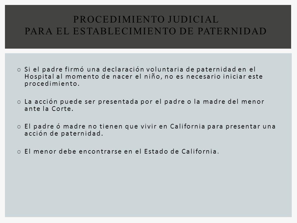 PROCEDIMIENTO JUDICIAL PARA EL ESTABLECIMIENTO DE PATERNIDAD