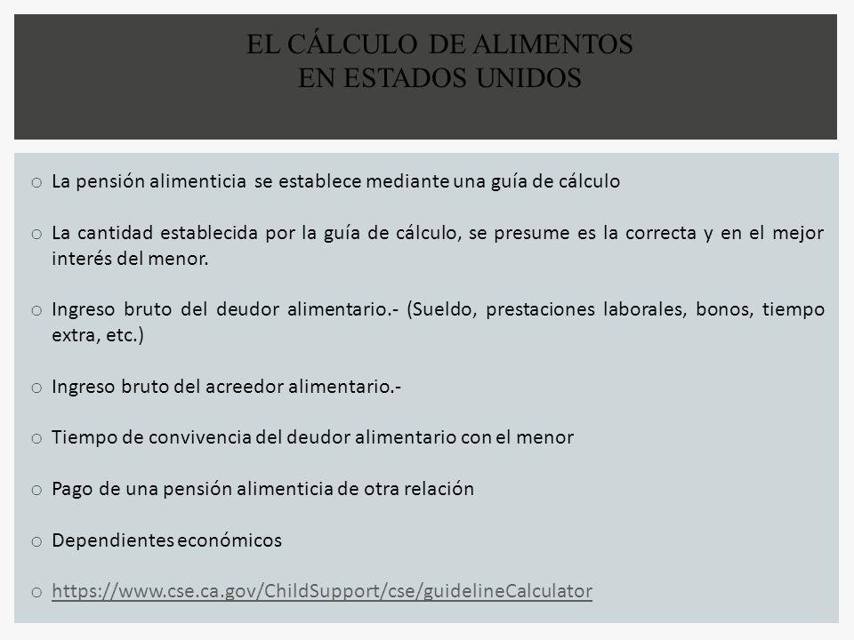 EL CÁLCULO DE ALIMENTOS