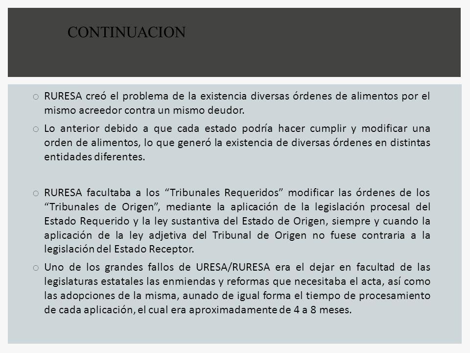 CONTINUACION RURESA creó el problema de la existencia diversas órdenes de alimentos por el mismo acreedor contra un mismo deudor.