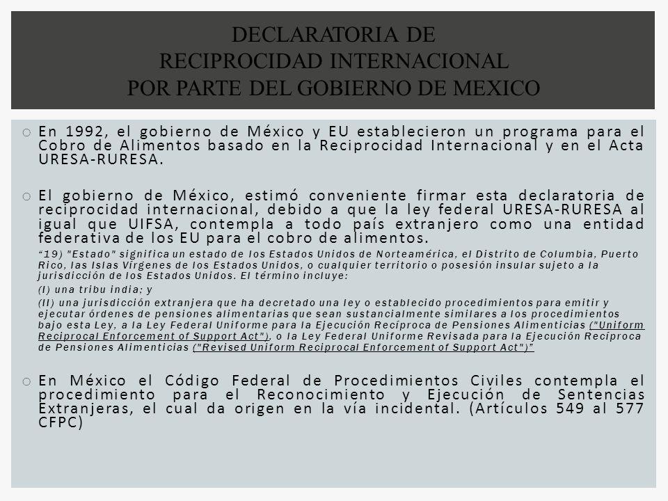 RECIPROCIDAD INTERNACIONAL POR PARTE DEL GOBIERNO DE MEXICO