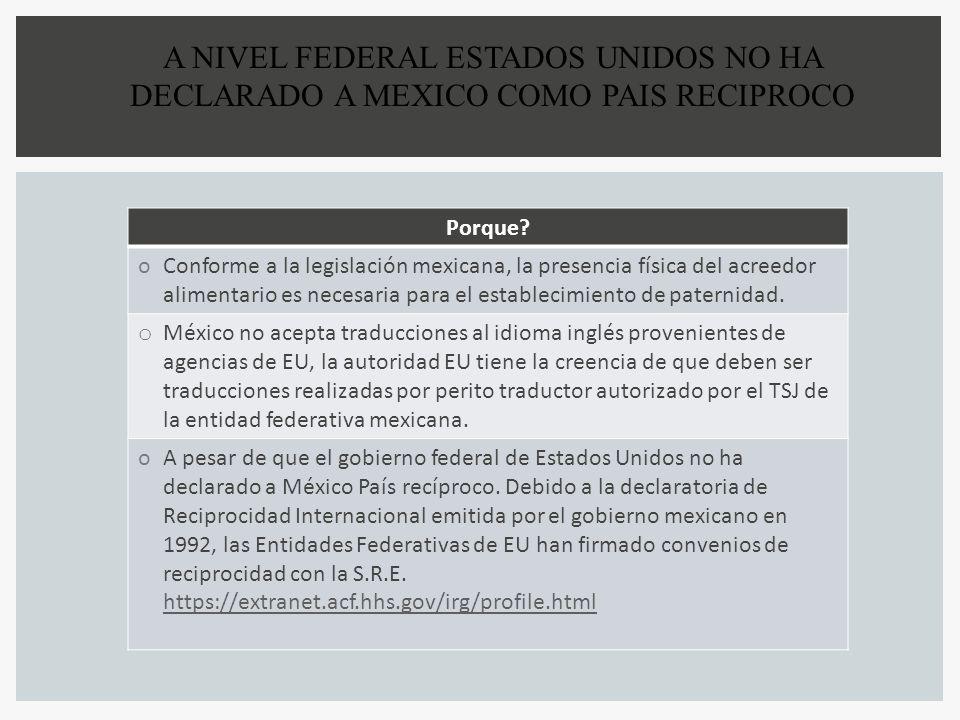 A NIVEL FEDERAL ESTADOS UNIDOS NO HA DECLARADO A MEXICO COMO PAIS RECIPROCO