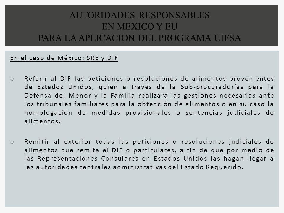 AUTORIDADES RESPONSABLES EN MEXICO Y EU