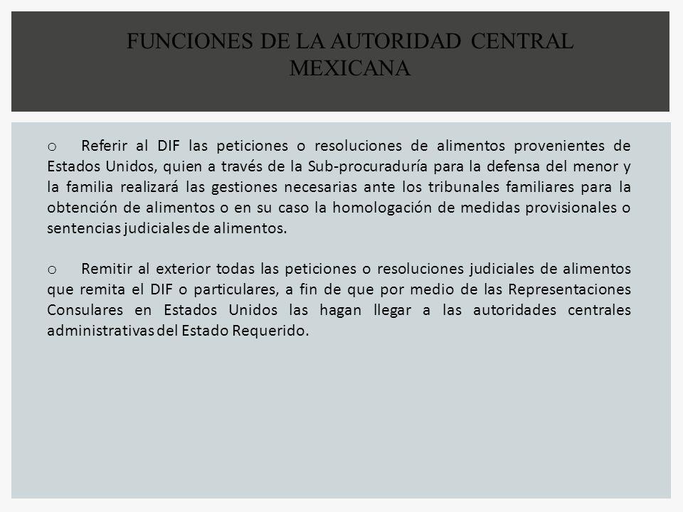 FUNCIONES DE LA AUTORIDAD CENTRAL