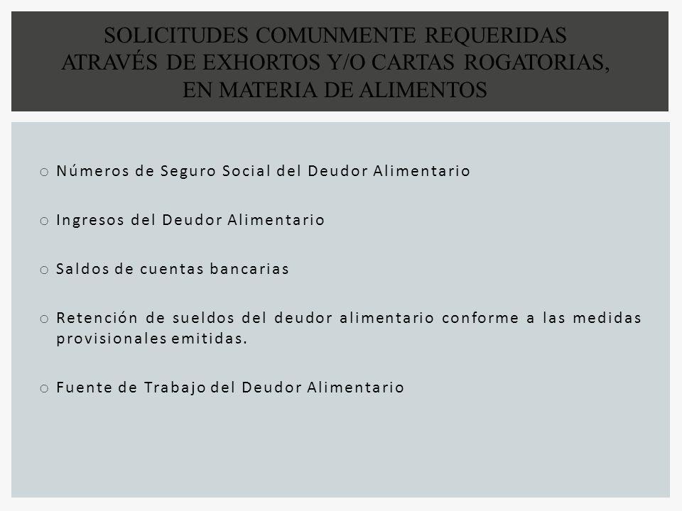 SOLICITUDES COMUNMENTE REQUERIDAS ATRAVÉS DE EXHORTOS Y/O CARTAS ROGATORIAS, EN MATERIA DE ALIMENTOS