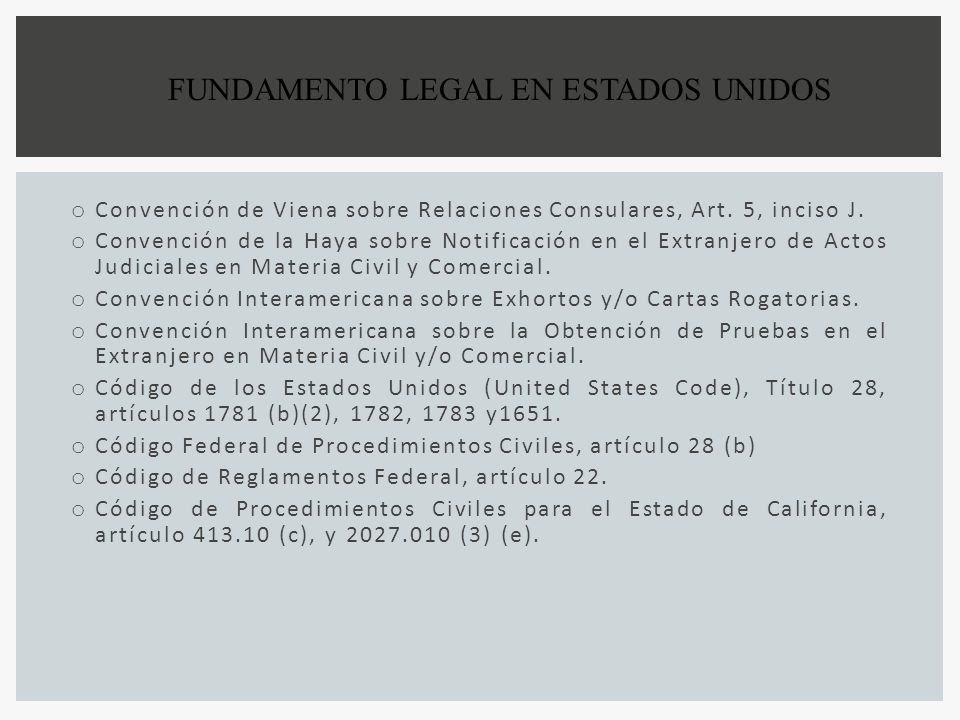 FUNDAMENTO LEGAL EN ESTADOS UNIDOS