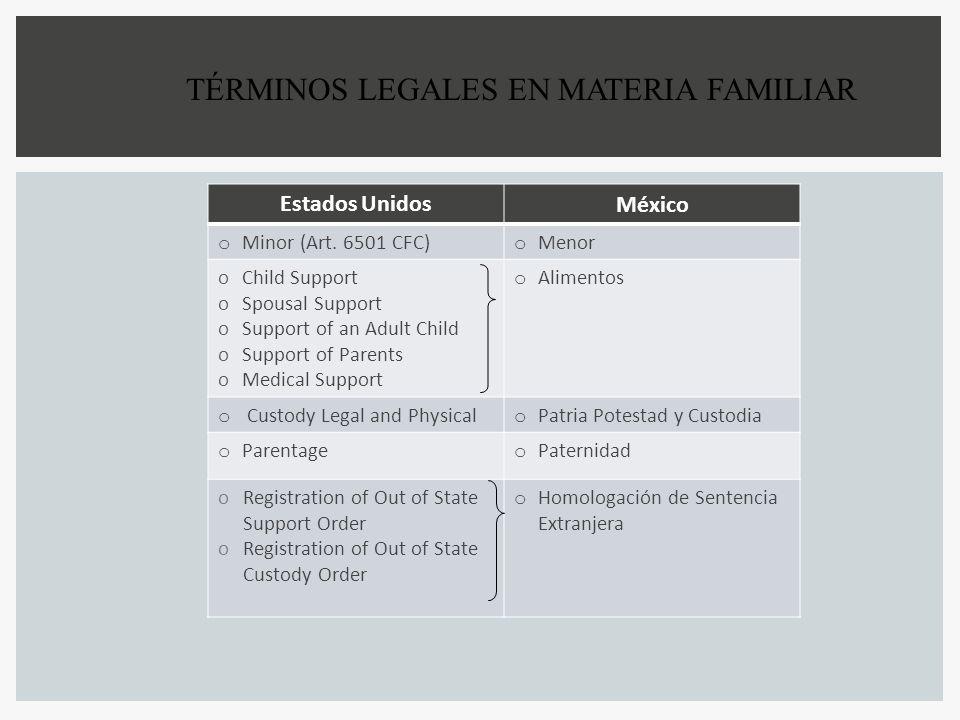 TÉRMINOS LEGALES EN MATERIA FAMILIAR