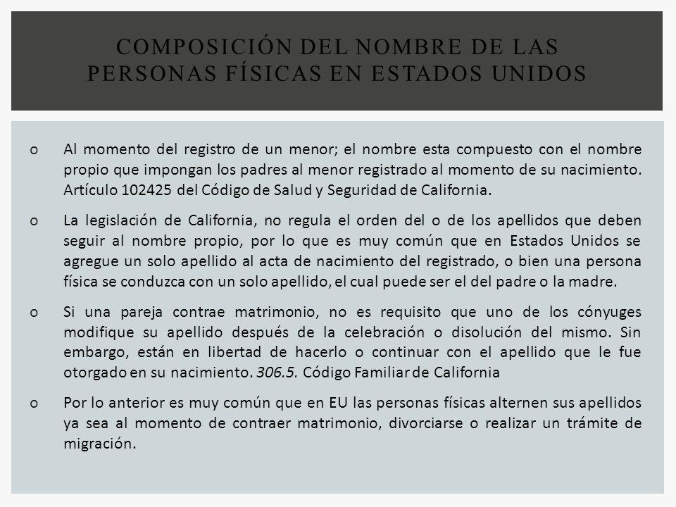 COMPOSICIÓN DEL NOMBRE DE LAS PERSONAS FÍSICAS EN ESTADOS UNIDOS