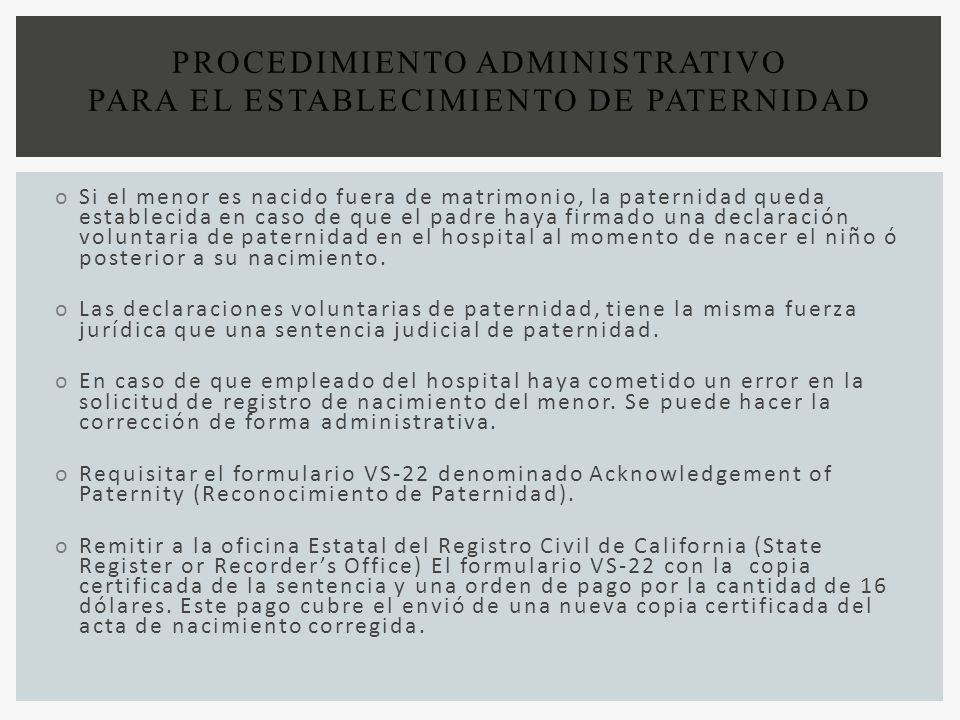 PROCEDIMIENTO ADMINISTRATIVO PARA EL ESTABLECIMIENTO DE PATERNIDAD