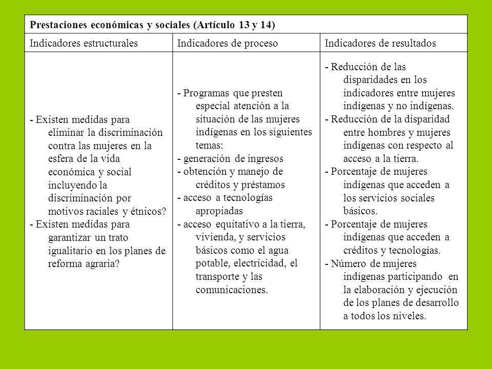 Prestaciones económicas y sociales (Artículo 13 y 14)