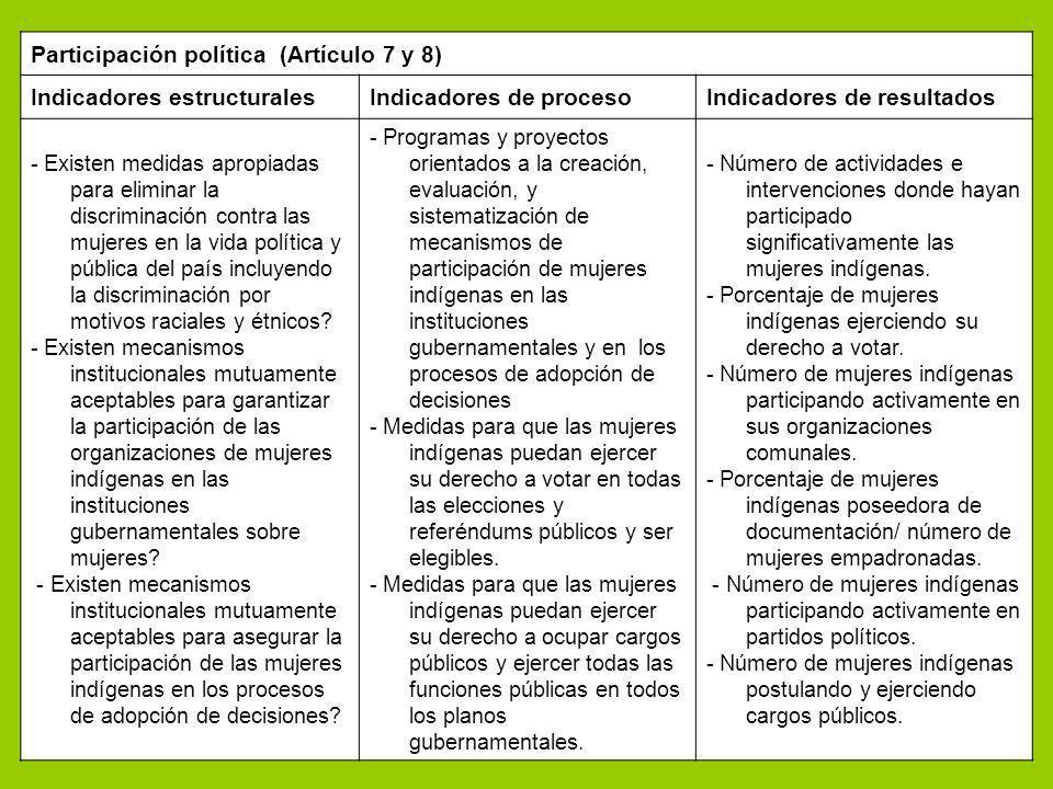 Participación política (Artículo 7 y 8) Indicadores estructurales