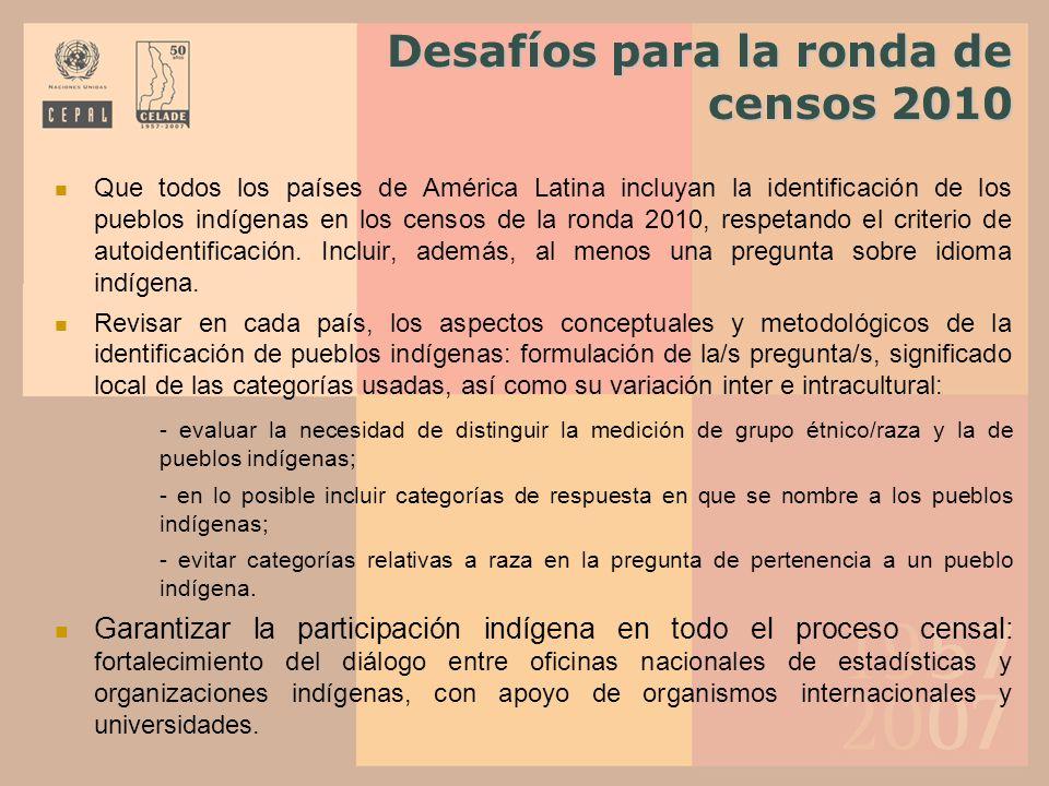 Desafíos para la ronda de censos 2010
