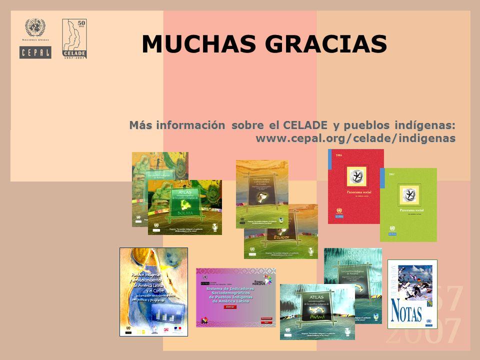 MUCHAS GRACIAS Más información sobre el CELADE y pueblos indígenas: www.cepal.org/celade/indigenas
