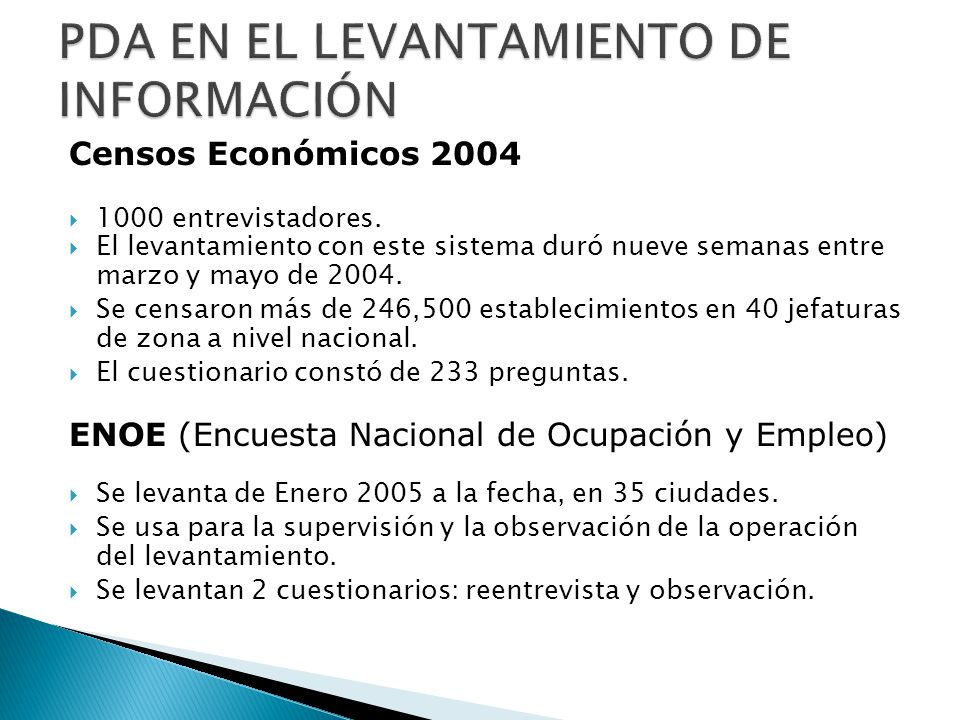 PDA EN EL LEVANTAMIENTO DE INFORMACIÓN
