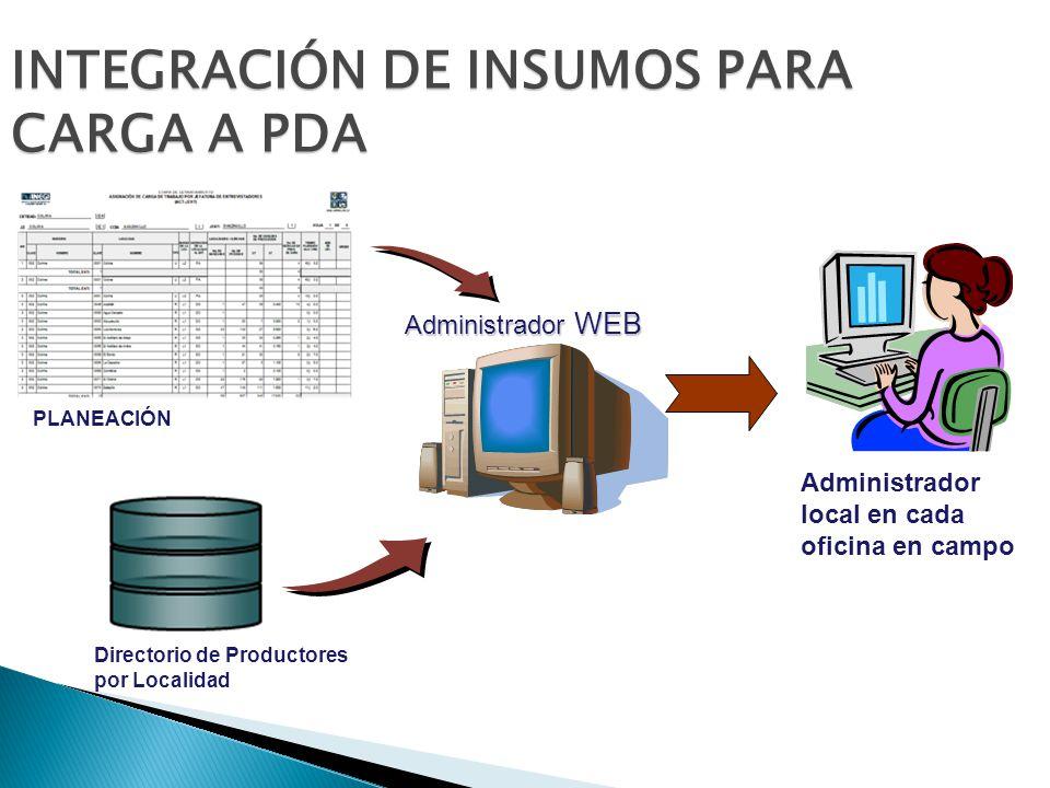 INTEGRACIÓN DE INSUMOS PARA CARGA A PDA