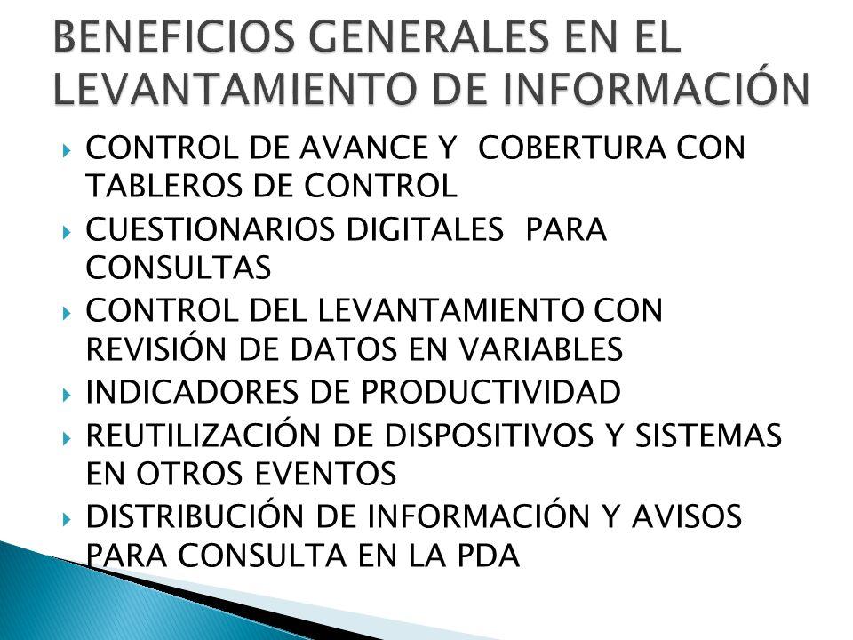 BENEFICIOS GENERALES EN EL LEVANTAMIENTO DE INFORMACIÓN