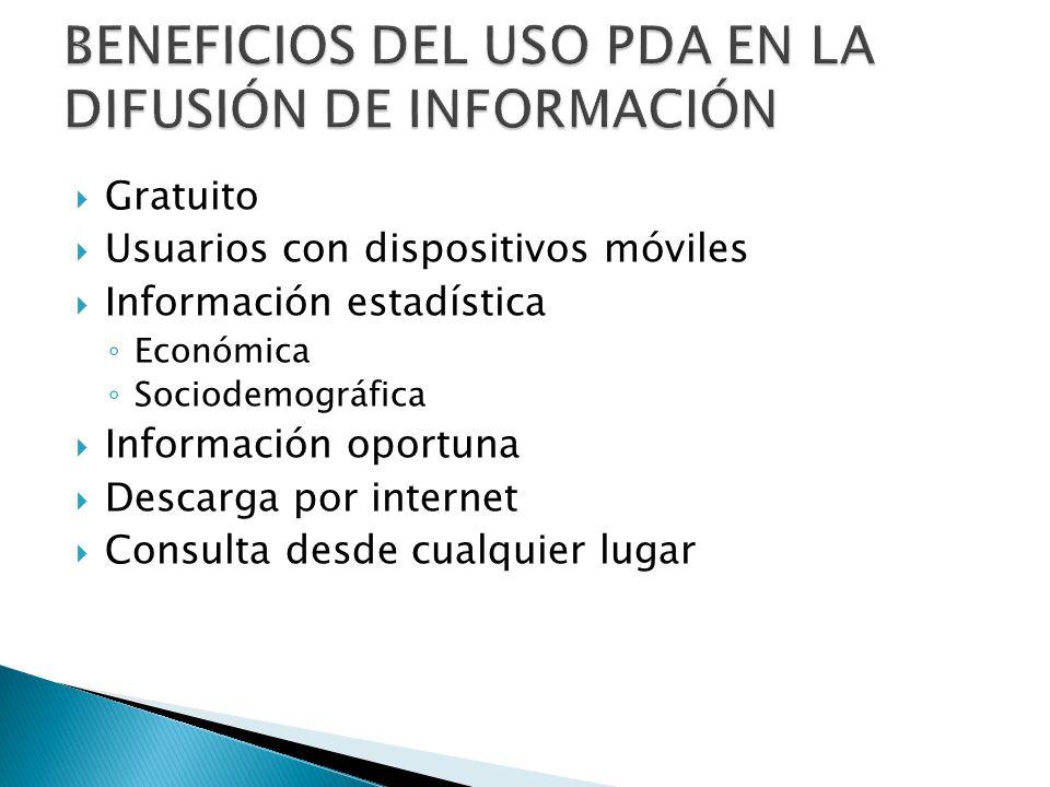 BENEFICIOS DEL USO PDA EN LA DIFUSIÓN DE INFORMACIÓN