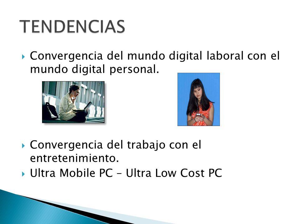 TENDENCIAS Convergencia del mundo digital laboral con el mundo digital personal. Convergencia del trabajo con el entretenimiento.
