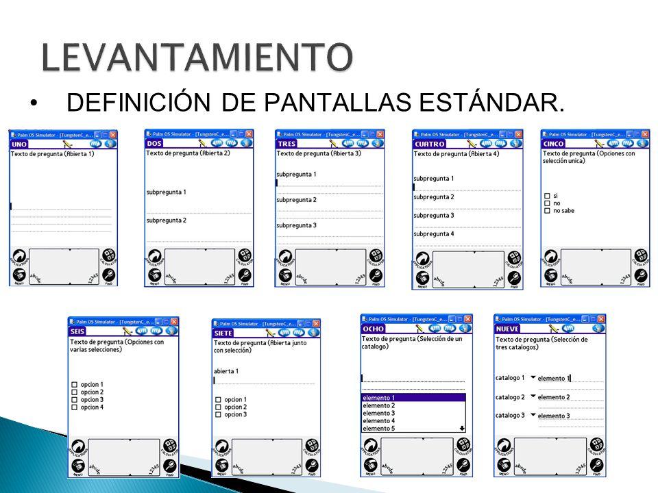 LEVANTAMIENTO DEFINICIÓN DE PANTALLAS ESTÁNDAR.