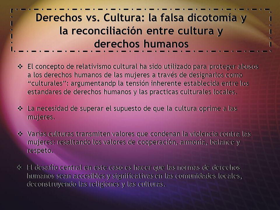 Derechos vs. Cultura: la falsa dicotomía y la reconciliación entre cultura y derechos humanos