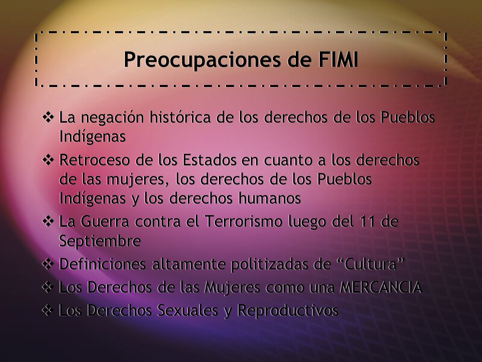 Preocupaciones de FIMI