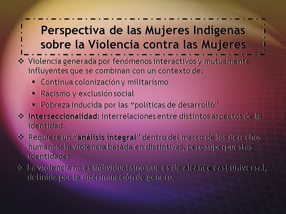 Perspectiva de las Mujeres Indígenas sobre la Violencia contra las Mujeres